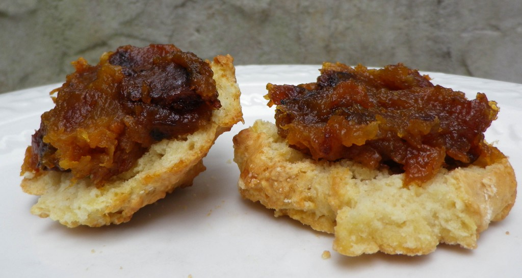 Oct 2016 (26) Pumpkin butter on biscuit cropped