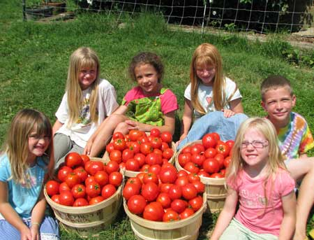 Smythe kids with tomatoes