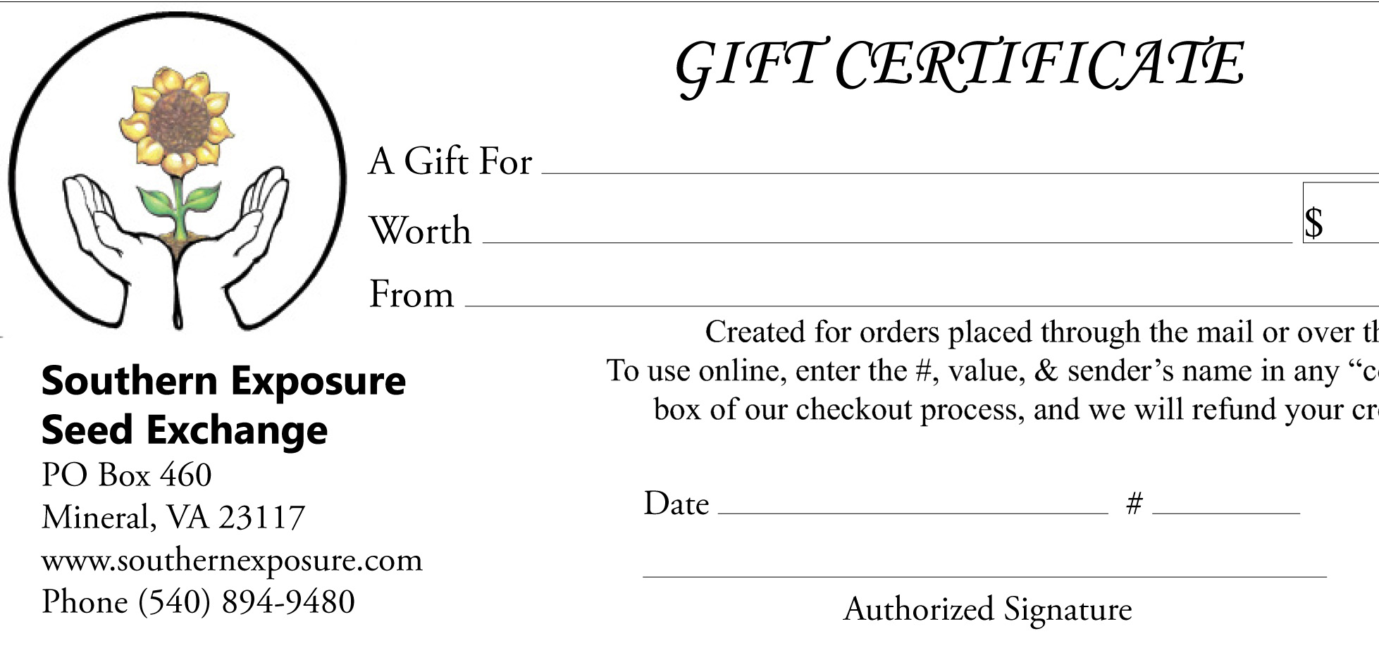 1 paper gift certificate unit southern exposure seed exchange