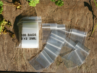 "Light-Weight Zip-Lock Bags, 2"" x 2"", 100"